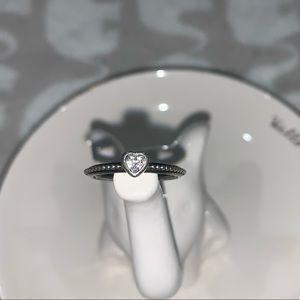 Pandora Clear Heart Beaded Ring size 6